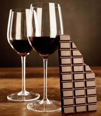 Red wine and chocolate bar